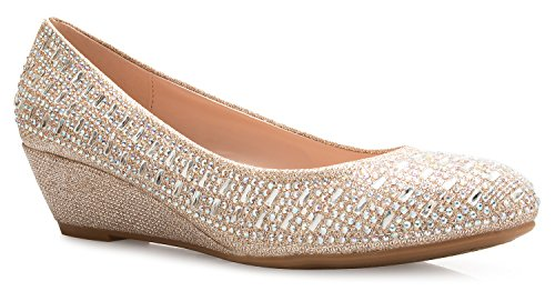 Olivia K Women's Close Round Toe Low Wedge Glitter Rhinestone Comfort Champagne
