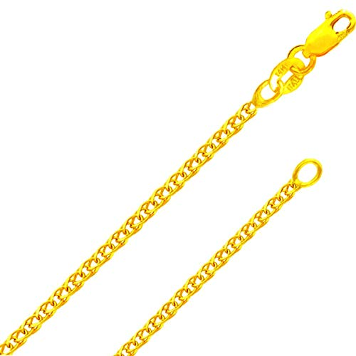 14K Solid Gold Italian Yellow Gold 1.5mm Flat Open wheat Link Chain Necklace- Made in Italy-14 Karat with Lobster Claw Clasp - FREE Gift w/Order (1.5MM 20 Inches 14K Yellow Open wheat Gold ITALY) ()