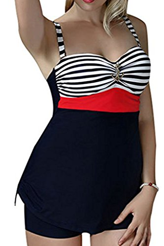 CharmLeaks Womens Two Piece Big Cup Bandeau Stripe Tankini Set Swimsuit