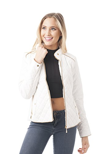 Quilted Padding Jacket With Suede Piping Detail (Medium, Ivory) (Jacket Suede Detail)