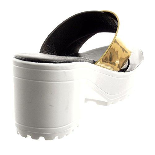 Sopily - Scarpe da Moda sandali Aperto Zeppe alla caviglia donna lucide Tacco a blocco tacco alto 7 CM - Nero