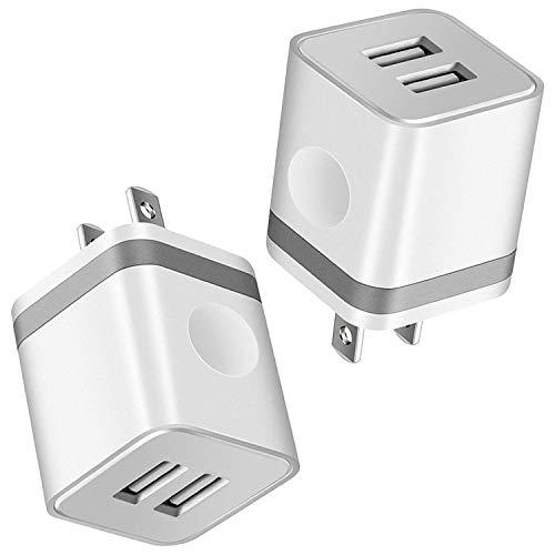 KEAIO USB Wall Charger, [UL Certified] 2-Pack 2.1A/5V Charger Block Dual Port USB Plug Power Adapter Charging Cube Compatible with iPhone 8/7/6S Plus, X Xs Max XR, Samsung, Android, and More(Grey)