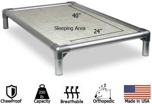 Kuranda Dog Bed – Chewproof – All-Aluminum Silver – Indoor Outdoor – Elevated – Easy to Clean – Water Proof – Breathability – Vinyl Weave Fabric