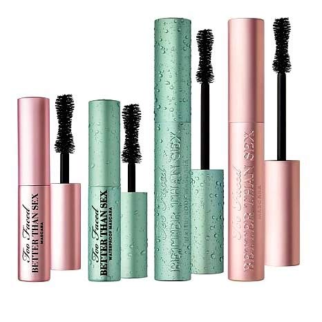 Too Faced Better Than Sex Mascara Blockbuster 4 Piece Set 2 Full Size Plus 2 Travel Size Regular and Waterproof