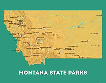 graphic regarding Printable Map of Montana named : Ideal Maps At any time Montana Country Parks Map 11x14