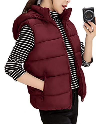 Clothing Casual Jacken Épaissir Femme Chaud Elégante Vest Capuchon Couleur Doudoune Matelassé Hiver Unie Outdoor Manches Mode Gilet Sans À Winered d80atRxqq