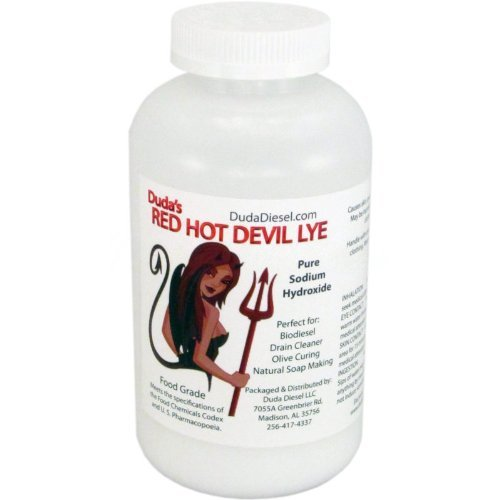 2 lb Red Hot Devil Lye Sodium Hydroxide Meets Food Chemical Codex High Grade Caustic Soda Beads by Duda Energy ()
