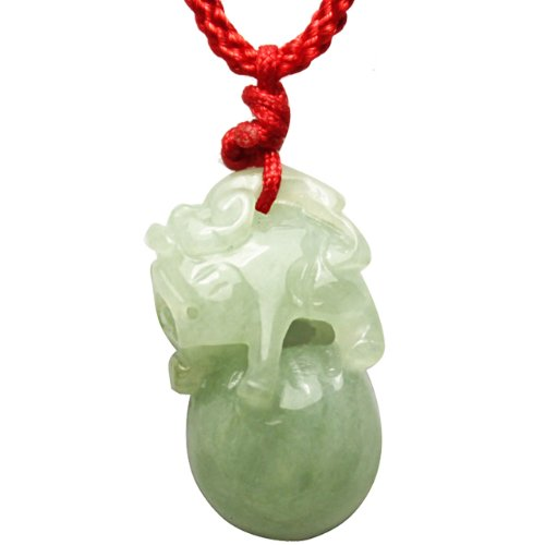 (Dahlia Jadeite Certified Grade A Jade Pi Xiu Dragon Luck and Fortune Adjustable Pendant Necklace)