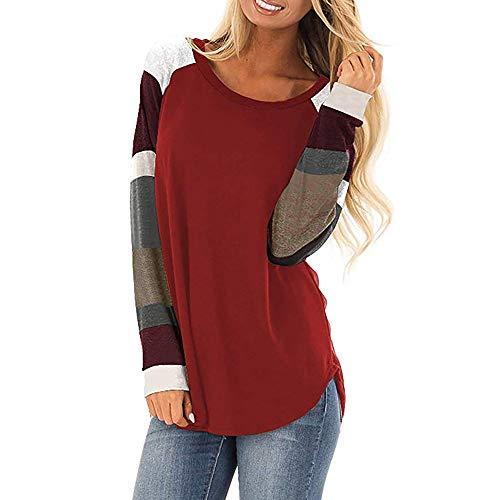 Women Stripe Patchwork Shirts,Sunyastor Cotton Long Sleeve Lightweight Casual T-Shirt Loose Tunic Sweatshirt Pocket Blouses ()