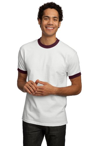 T-shirt Company Ringer - Ringer Tee Shirt, Color: Wh/Ath Maroon, Size: Large
