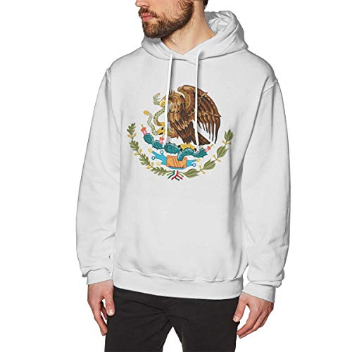 Men's Coat of Arms of Mexico National Emblem Hoodies Sweatshirt Pullover Sweater, Drawstring Hooded Jersey Jacket White