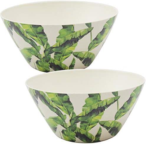 Bada Bing 2er Set Müslischale Bambus Palmenblätter Schale Schälchen Geschirr Blätter Für Camping Garten Tischdeko 19