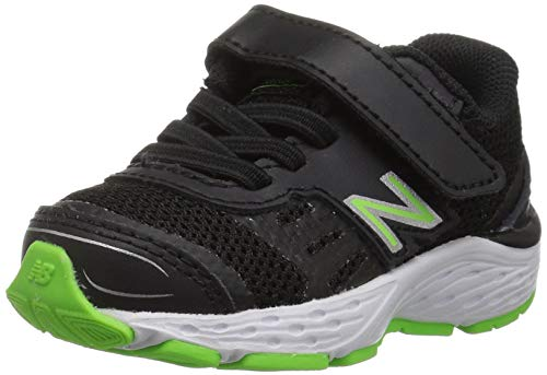 (New Balance Boys' 680v5 Hook and Loop Running Shoe Black/RBG Green 10 M US Toddler)