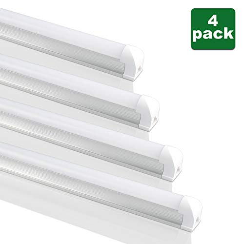 B2ocled T8 LED Shop Light Tube Linkable Integrated Single Fixture, 2ft, 9W (20W equivalent), 6000K(Cool White Glow), Single-Ended Power, Frosted Cover(4 Pack)