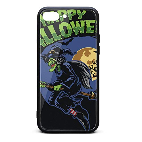Phone case for 7/iPhone 8 Plus Halloween Witch and fliying Broom Tempered Glass Back Hip Shock-Absorbing TPC Cover