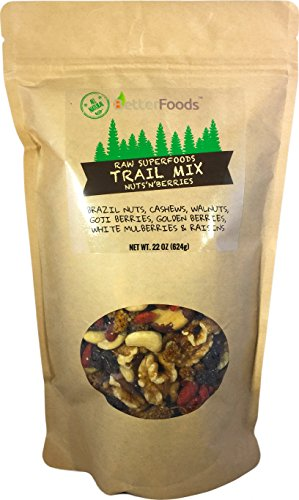 Raw Superfoods Trail Mix - Nuts and Berries (Goji Berries, Golden Berries, Mulberries, Raisins, Brazil Nuts, Cashews, Walnuts) (Healthiest Dried Fruit And Nuts)