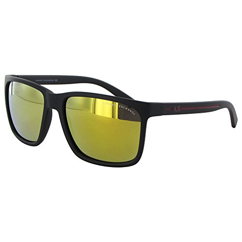 Armani Exchange Mens Sunglasses (AX4041S) Black Matte/Gold Plastic - Non-Polarized - ()