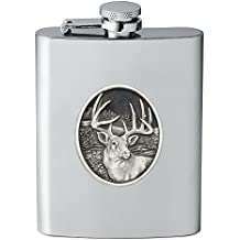 CMC Heritage Pewter Wildlife White Tail Deer Flask, One Size