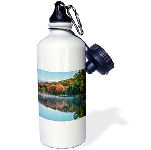 3dRose Danita Delimont - Lakes - Autumn and mist reflecting on Council Lake, Hiawatha NF, Michigan. - 21 oz Sports Water Bottle (wb_279065_1) by 3dRose