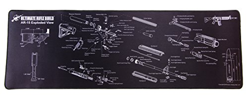 Ultimate Gun Cleaning Mat with Exploded Parts Diagram, cartridge & receiver dimensions; non-slip & solvent resistant Pad; stitched edges; 12