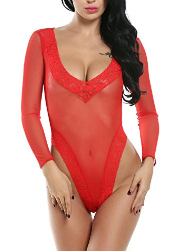 e One Piece Sexy Plunging V Teddy Lace Mesh Babydoll Mini Bodysuit, Red, X-Large (Red Long Sleeve Teddy)