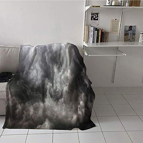 (Khaki home Children's Blanket Ultralight Digital Printing Blanket (50 by 60 Inch,Grey Decor,Weather Stormy Gloomy Air Clouds Lightings Scary Horror Movie Inspired Photo,Gray and White)