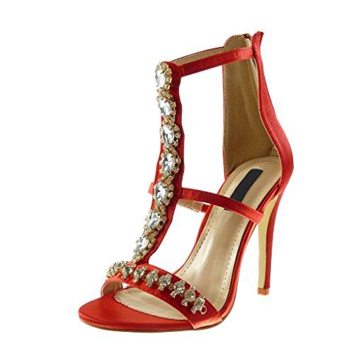 Angkorly Damen Schuhe Pumpe Sandalen - Stiletto - Hohe - T-Spange - Strass - Schmuck - Multi-Zaum Stiletto High...
