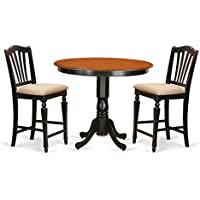 East West Furniture TRCH3-BLK-C 3 Piece High Top Table and 2 Counter Height Stool Set