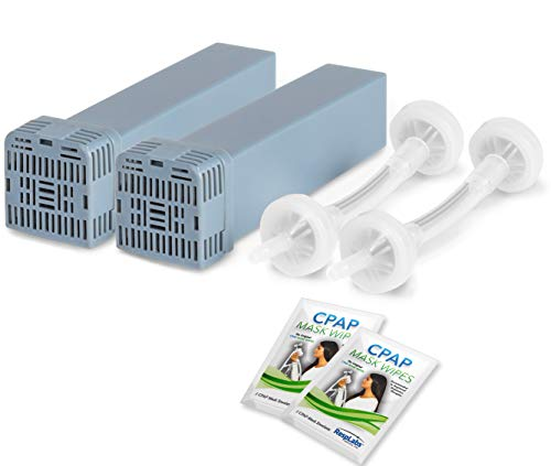 RespLabs Generic Cartridge Carbon Filter Kit and Check Valve Assembly - Includes 2 Travel CPAP Wipes [2 Pack]