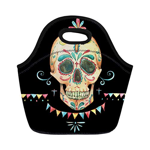 Semtomn Neoprene Lunch Tote Bag Vintage Watercolor Skull and Sugar Face Garland Colorful Flags Reusable Cooler Bags Insulated Thermal Picnic Handbag for Travel,School,Outdoors,Work]()