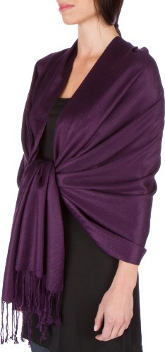 Silk Scarf Purple Label - Sakkas Large Soft Silky Pashmina Shawl Wrap Scarf Stole in Solid Colors - Dark Purple