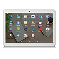 """Android Tablet 10 inch 3G Phablet with Dual Sim Card Slots and Cameras,10.1"""" 1080p Full HD Display, 16GB, WiFi,Bluetooth,GPS(Sliver)"""