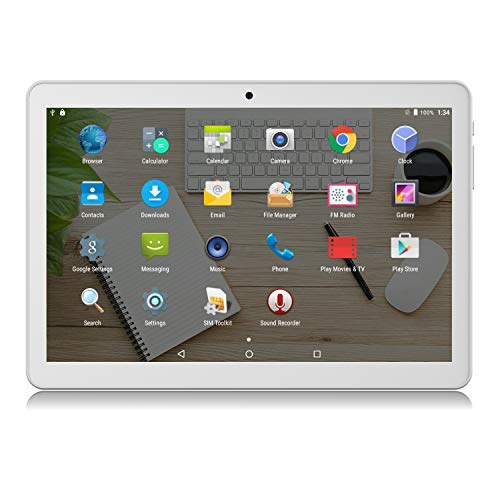 Tablet 10 inch Android 3G Unlocked Phablet with Dual sim Card Slots and Cameras,Tablet PC with WiFi,Bluetooth,GPS (10 inch(1GB+16GB), Silver)