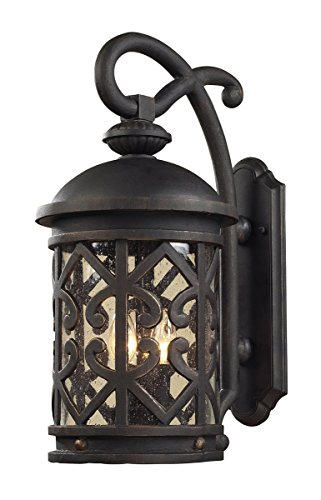 Artistic Lighting 42061/2 2-Light Outdoor Sconce In Weathered Charcoal And Clear Seeded Glass ()