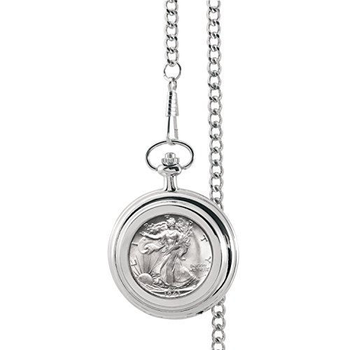 Monogrammed Silver Walking Liberty Half Dollar Pocket Watch