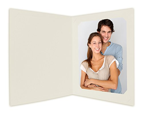 Golden State Art, Cardboard Photo Folder for 8x10/6x8 (Pack of 25) Cut Corners GS010 Ivory Color
