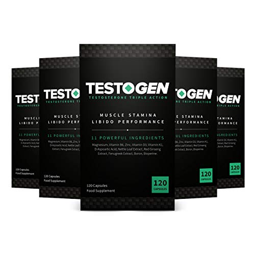 5-Pack TestoGen Triple-Action Testosterone Booster with Powerful Natural Ingredients Helps