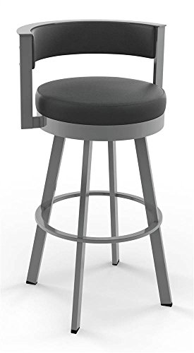 (Amisco Browser Swivel Barstool in Glossy Gray Metal Finish)