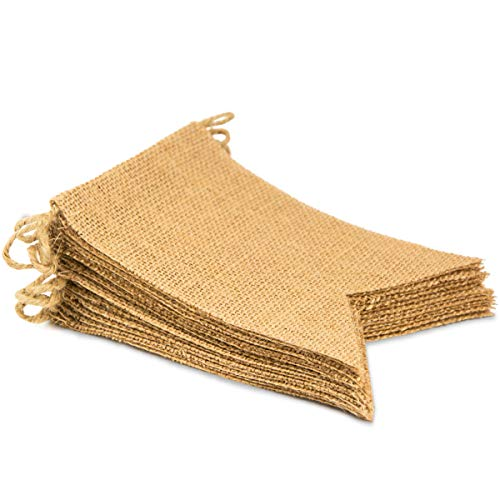 ThxToms [15 Pcs] Burlap Banner, DIY Party Decor for Birthday, Wedding, Baby Shower and Graduation, -