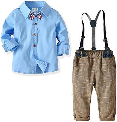 ボーイツーピース衣装セット、ソリッドカラー長袖シャツ+チェック柄サスペンダーズボン、1-6年#023