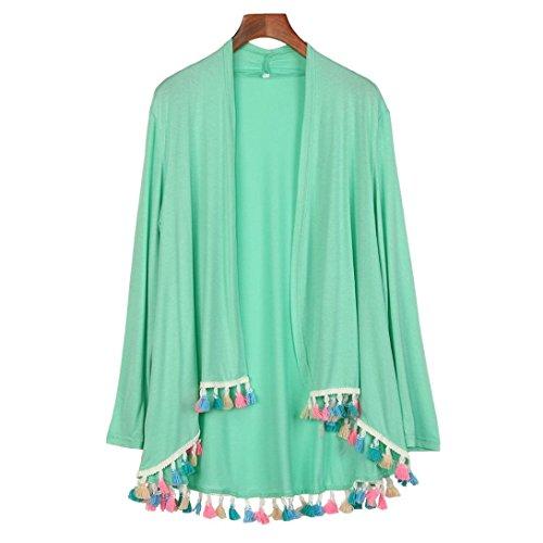 Vovotrade Mujeres de la manga larga capa de kimono de la borla de la rebeca Verde