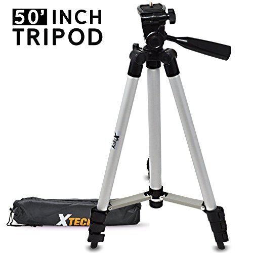 Xtech 50' inch Tripod with Carrying Case, 3 Way Pan-Head, for Canon, Nikon, Olympus, Sony, Fuji, Samsung, Panasonic, Pentax and Other Similar Digital Cameras and Camcorders
