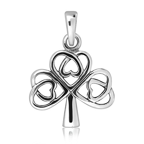 WithLoveSilver 925 Sterling Silver Shamrock Heart Tree of Life Pendant