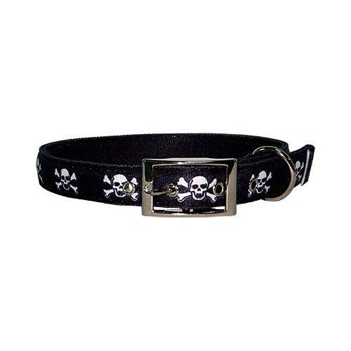 Yellow Dog Design Uptown Collar, Medium, Skulls on Solid Black
