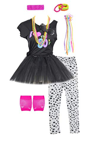 Fashion by Janestone Girls 80s T-Shirt Costume Outfit Accessories Headwear Skirt Leggings Gloves (7/8, -