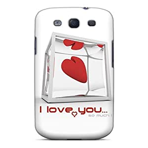 Galaxy S3 Case Cover - Slim Fit Tpu Protector Shock Absorbent Case (i Love You 3)