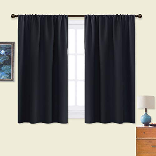 NICETOWN Black Out Curtain Panels for Kitchen - Energy Smart Decoration Thermal Insulating Blackout Drapes/Draperies for Small Window (2 Panels, 42 inches Wide by 45 inches Long)