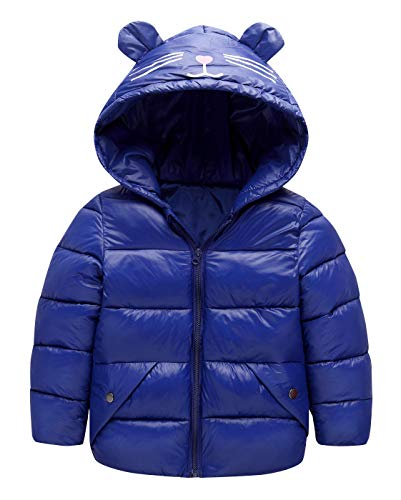 Girls Jacket Cherry - Happy Cherry Baby Girls Down Jacket Thick Warm Jacket Winter Hooded Down Coat Light Weight Long Sleeve Outwear Snowsuit with Pocket Dark Blue 6T