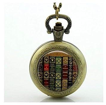 Colgante para relojes de bolsillo de libros antiguos, estante para libros, joyería para libros, regalo bibliotecario: Amazon.es: Hogar