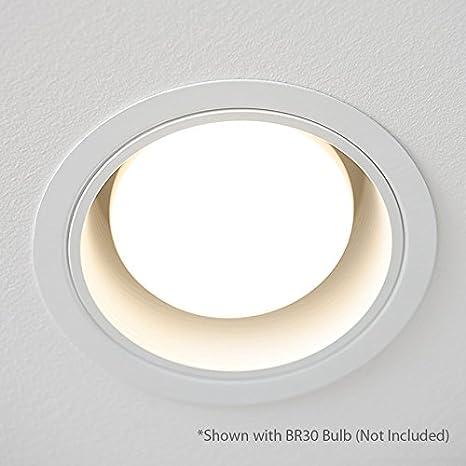 [12-Pack] PROCURU 6 White Baffle Metal Recessed Can Light Trim - for BR30/38/40, PAR30/38/40 LED, Incandescent, CFL, Halogen (White (12-Pack))